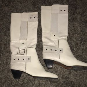 Vintage pazzo leather white tall boots size 7.5